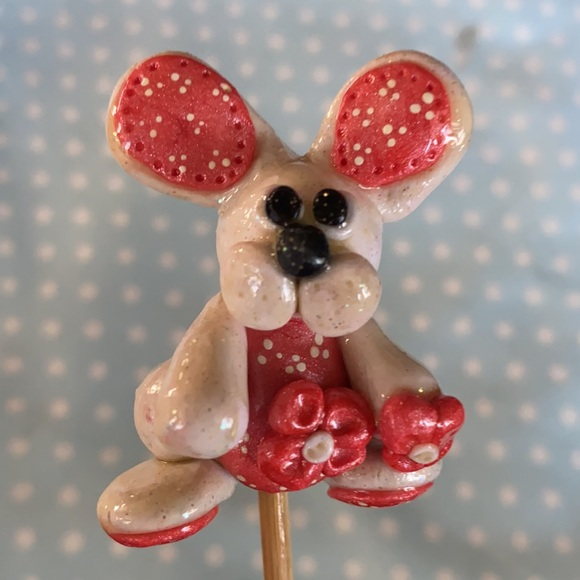 Handcrafted; Clay; Peach Bunny; Plant Stick